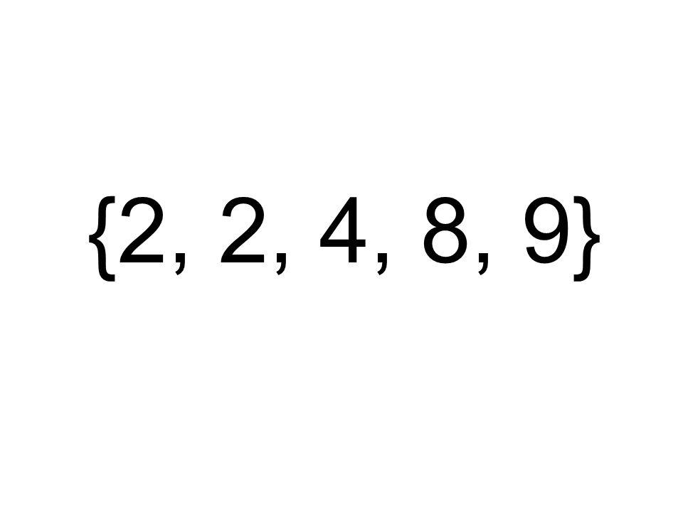 {2, 2, 4, 8, 9}
