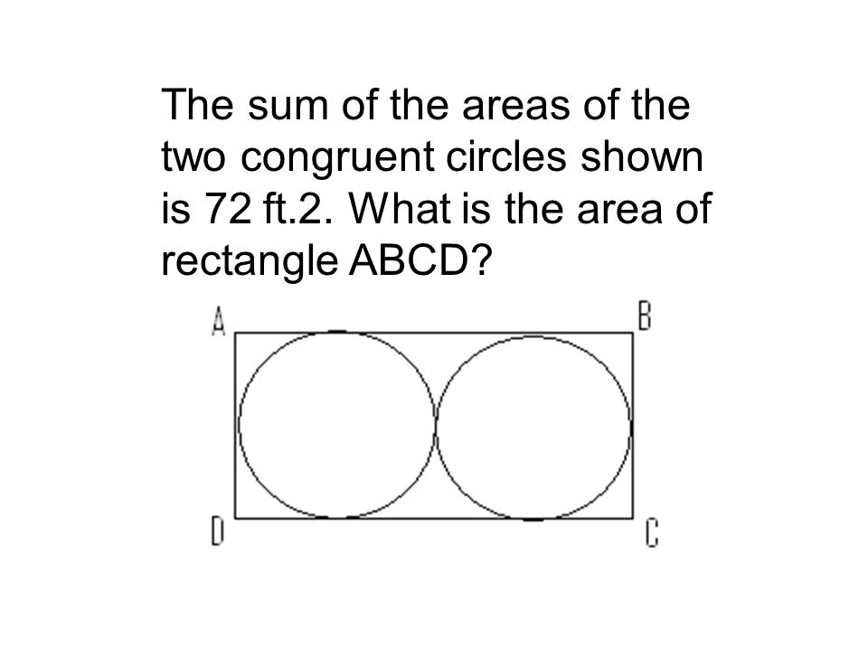 The sum of the areas of the two congruent circles shown is 72 ft. 2