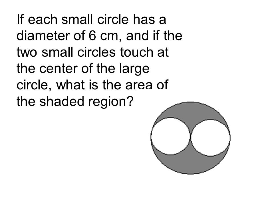 If each small circle has a diameter of 6 cm, and if the two small circles touch at the center of the large circle, what is the area of the shaded region