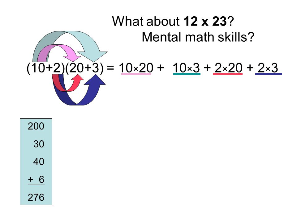 What about 12 x 23 Mental math skills