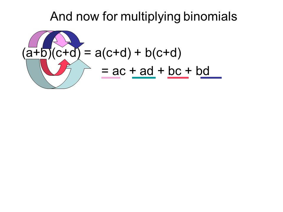 And now for multiplying binomials