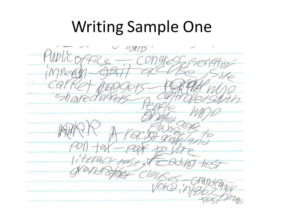 Writing Sample One