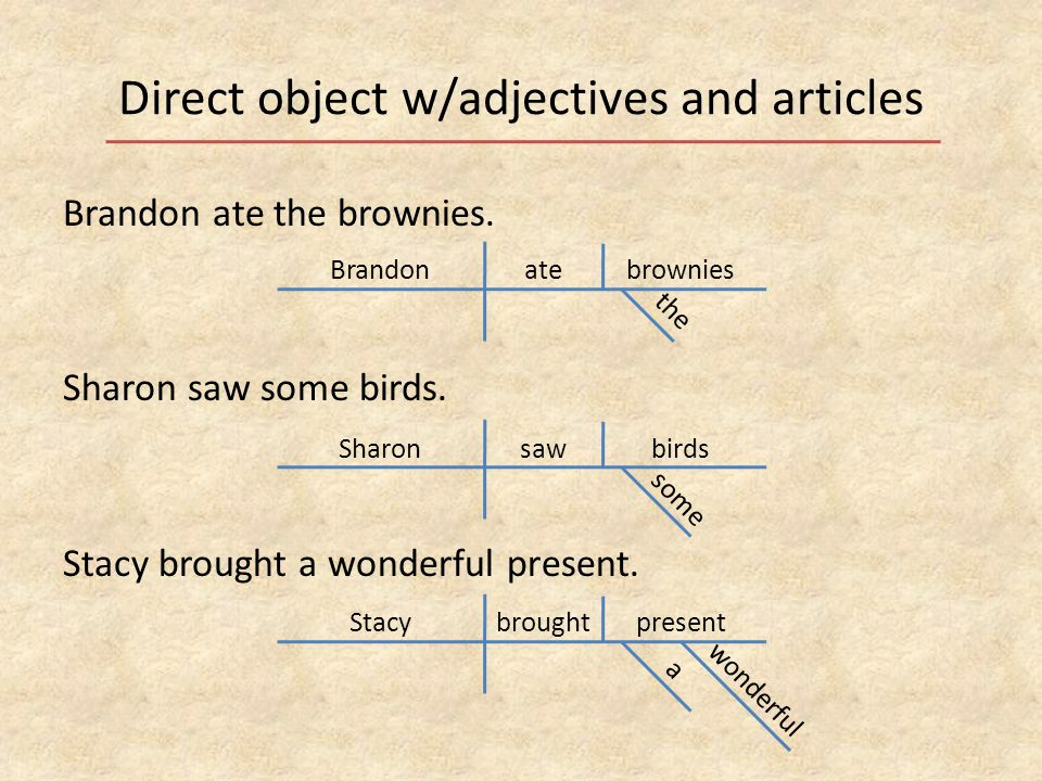 Direct object w/adjectives and articles