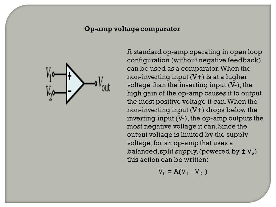 Op-amp voltage comparator