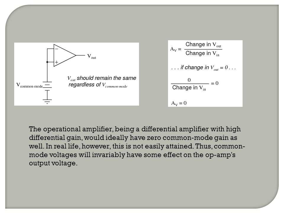 The operational amplifier, being a differential amplifier with high differential gain, would ideally have zero common-mode gain as well.
