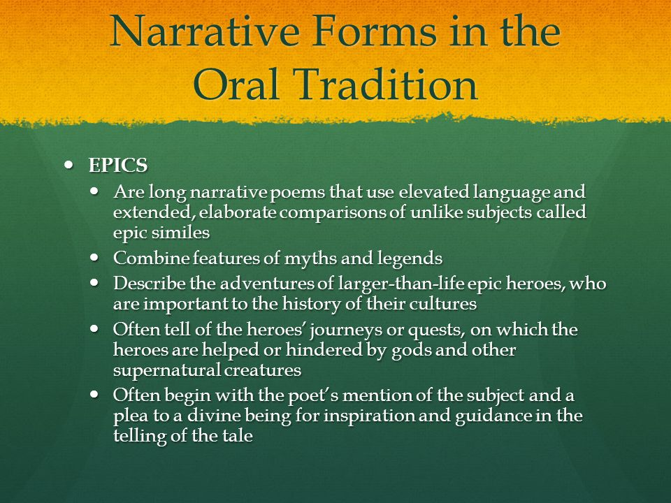 Narrative Forms in the Oral Tradition