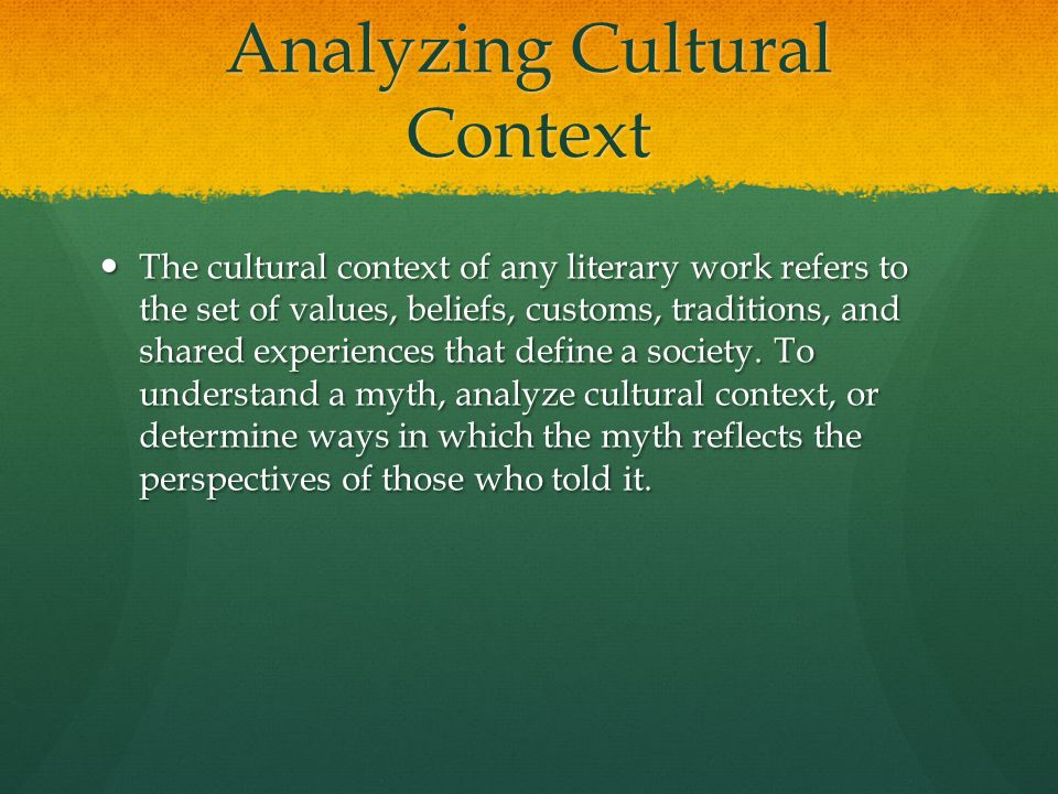 Analyzing Cultural Context