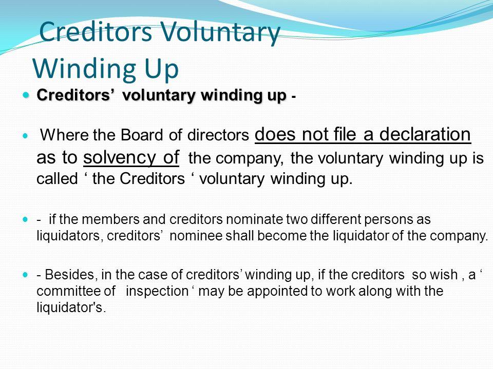 Creditors Voluntary Winding Up