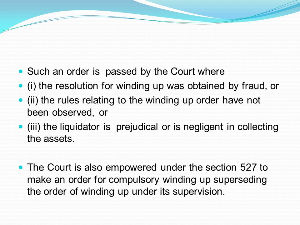 . Such an order is passed by the Court where
