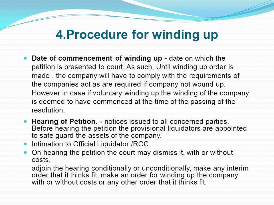 4.Procedure for winding up