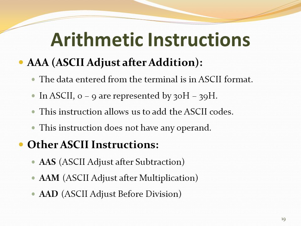 Arithmetic Instructions