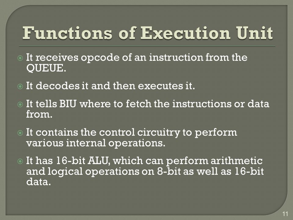 Functions of Execution Unit