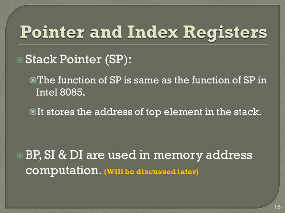 Pointer and Index Registers