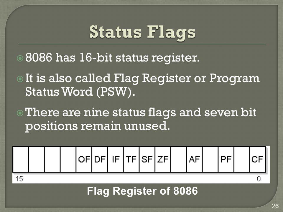 Status Flags 8086 has 16-bit status register.