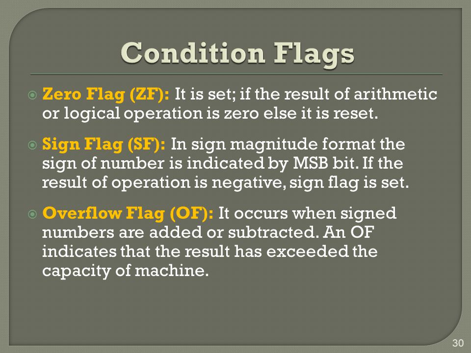 Condition Flags Zero Flag (ZF): It is set; if the result of arithmetic or logical operation is zero else it is reset.