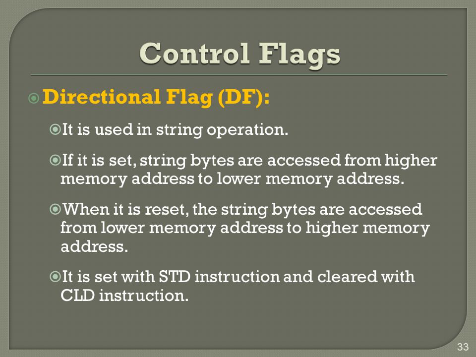 Control Flags Directional Flag (DF): It is used in string operation.