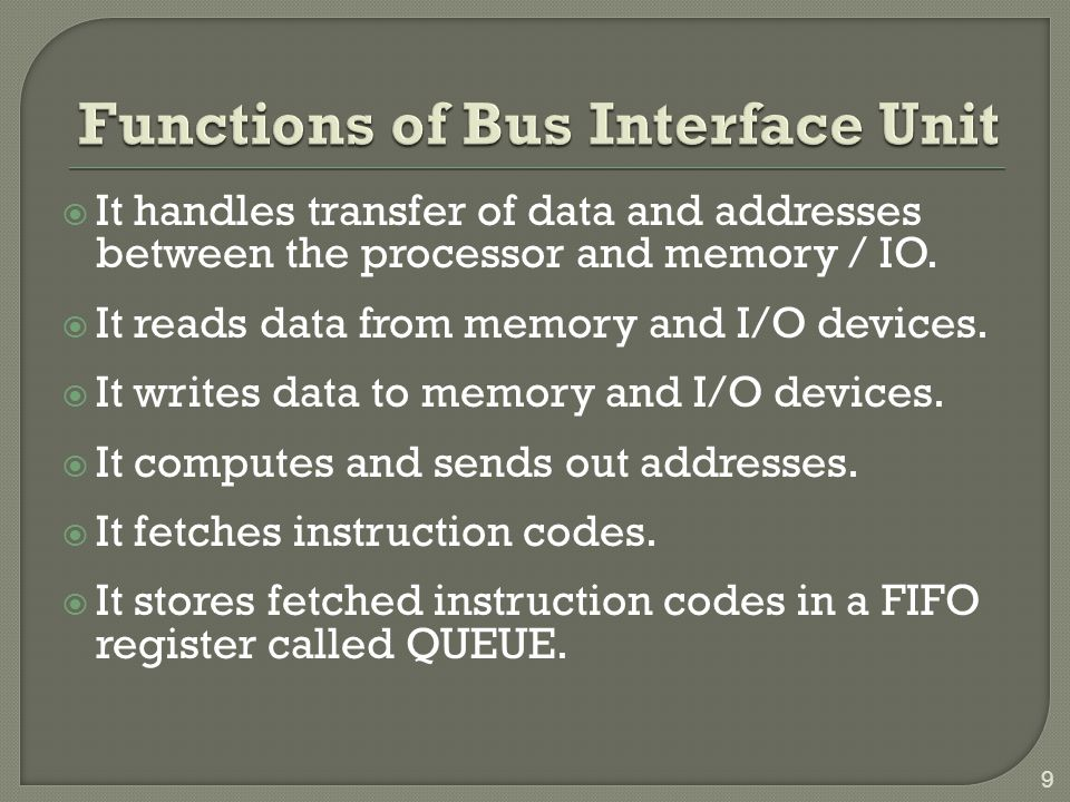 Functions of Bus Interface Unit