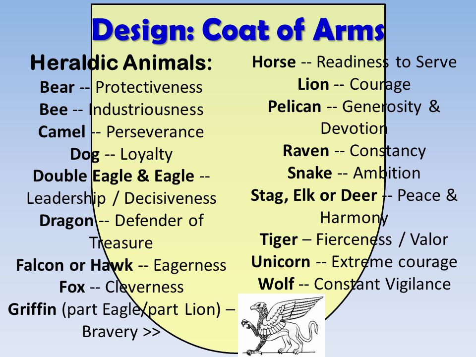 Design: Coat of Arms Heraldic Animals: Bear -- Protectiveness Bee -- Industriousness Camel -- Perseverance Dog -- Loyalty Double Eagle & Eagle --