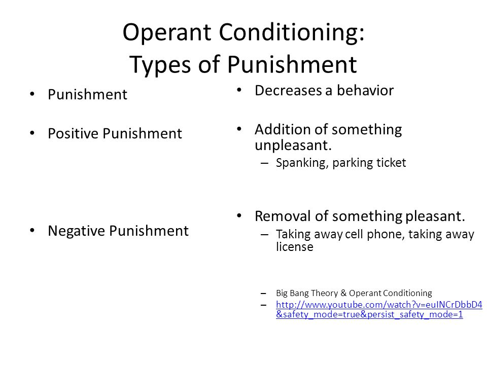 Operant Conditioning: Types of Punishment