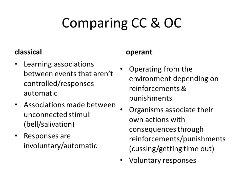 Comparing CC & OC classical operant