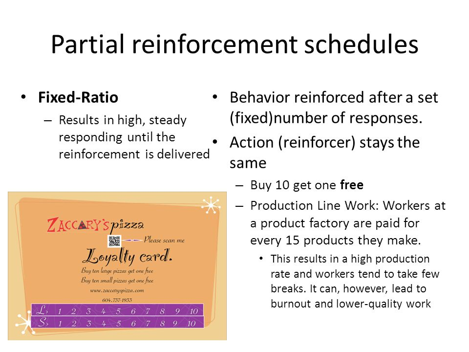 Partial reinforcement schedules