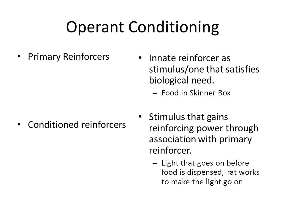 Operant Conditioning Primary Reinforcers