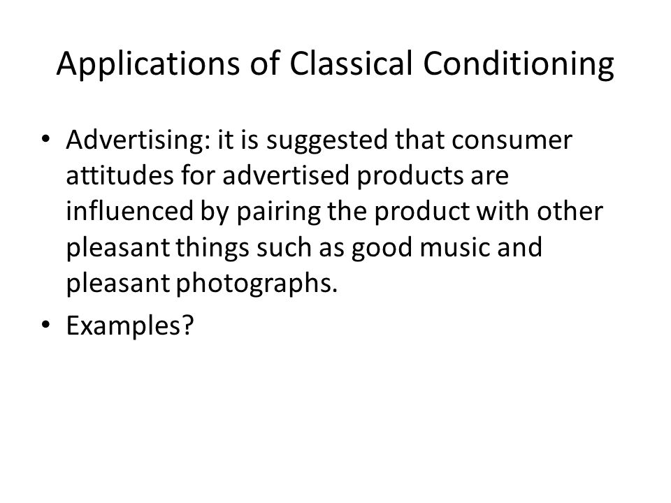 Applications of Classical Conditioning