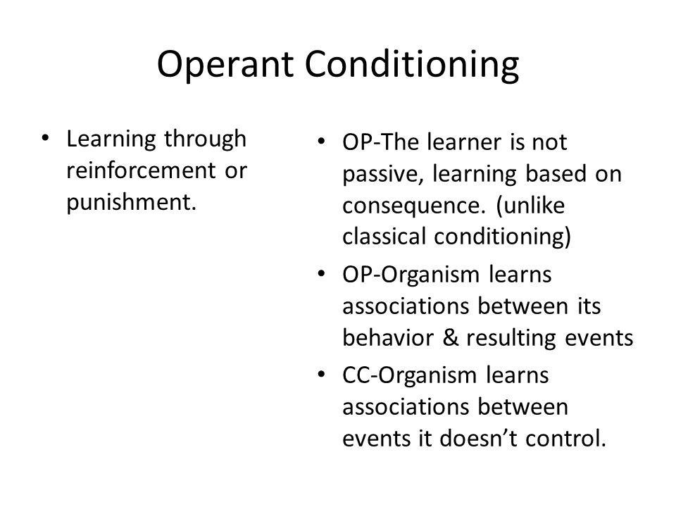 Operant Conditioning Learning through reinforcement or punishment.