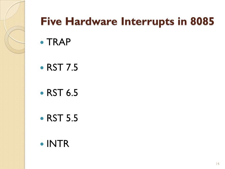 Five Hardware Interrupts in 8085