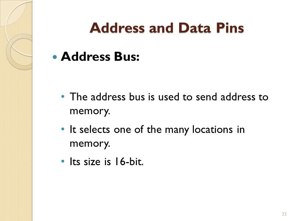 Address and Data Pins Address Bus: