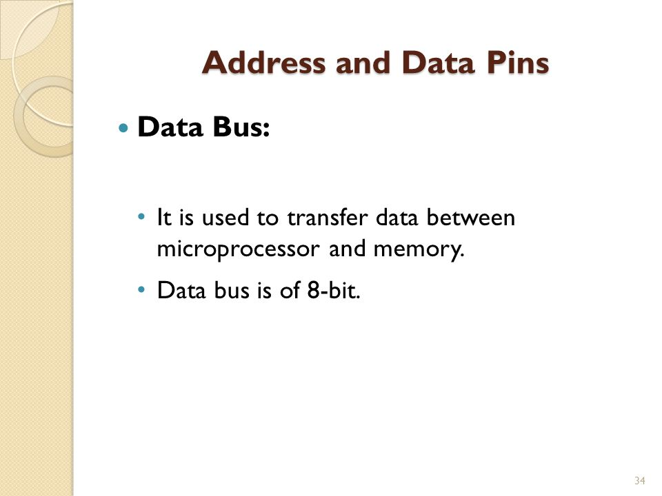 Address and Data Pins Data Bus: