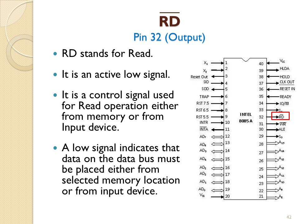 RD Pin 32 (Output) RD stands for Read. It is an active low signal.