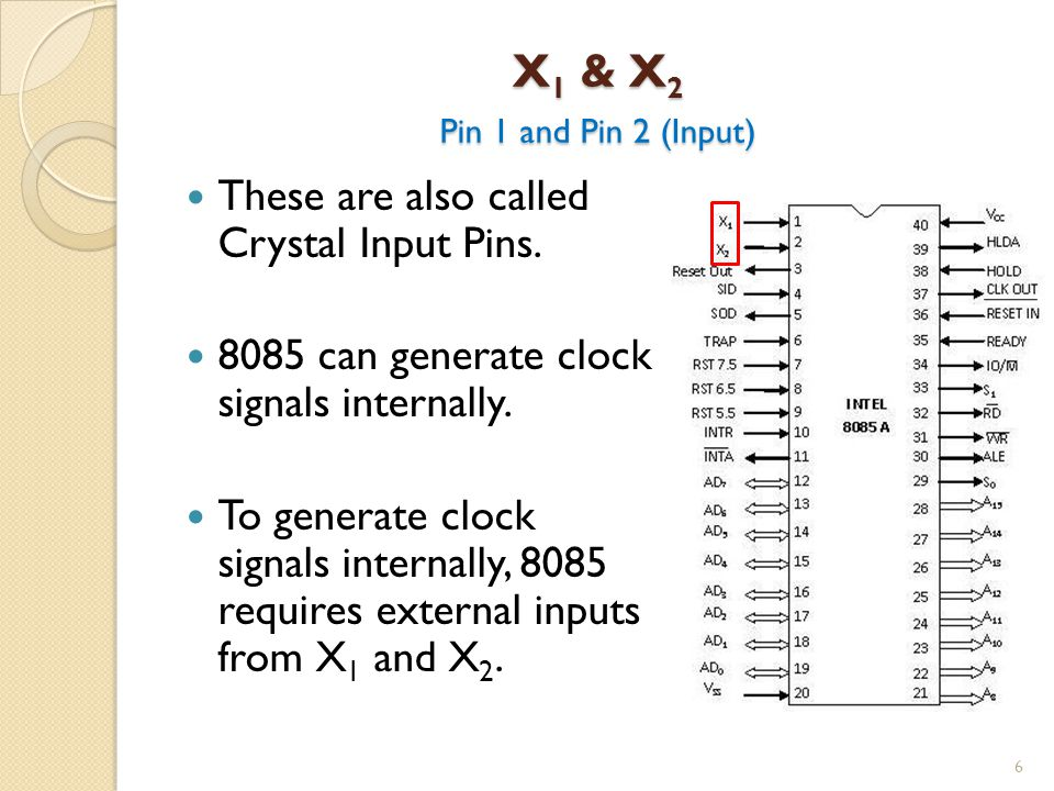 X1 & X2 Pin 1 and Pin 2 (Input) These are also called Crystal Input Pins. 8085 can generate clock signals internally.
