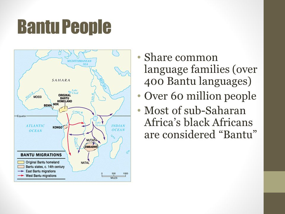 Bantu People Share common language families (over 400 Bantu languages)