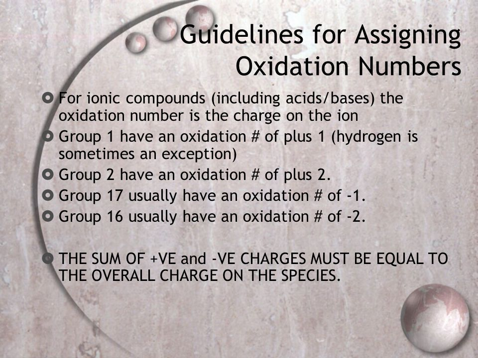 Guidelines for Assigning Oxidation Numbers