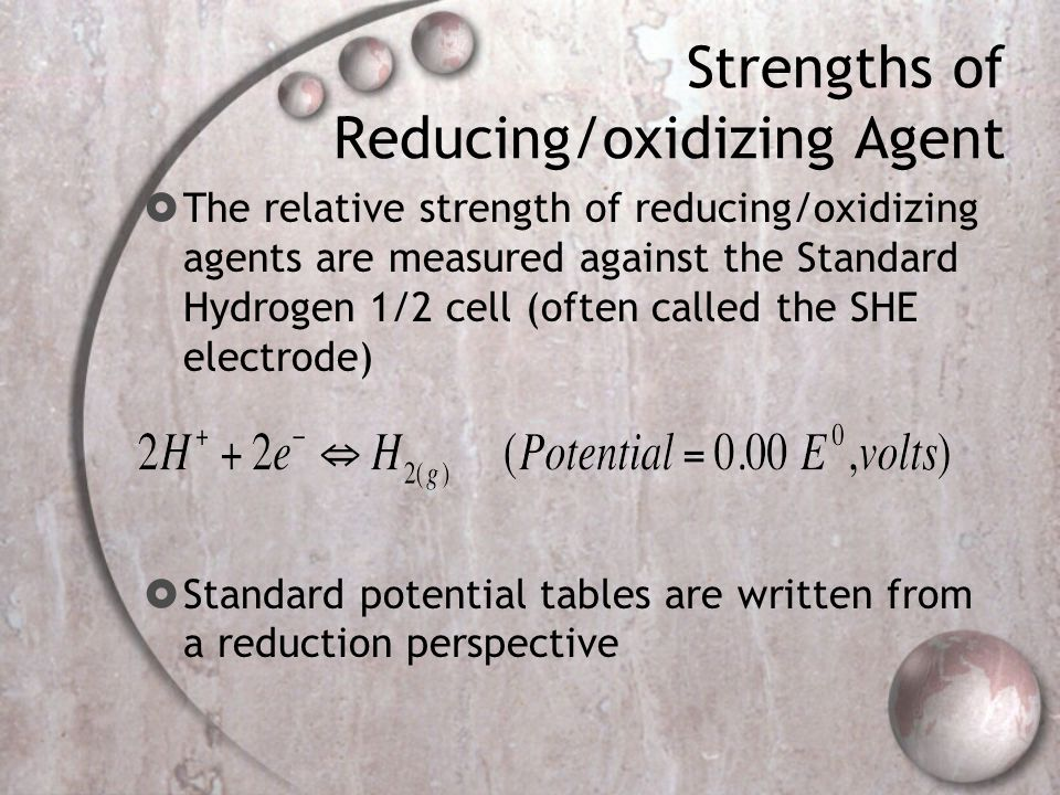 Strengths of Reducing/oxidizing Agent