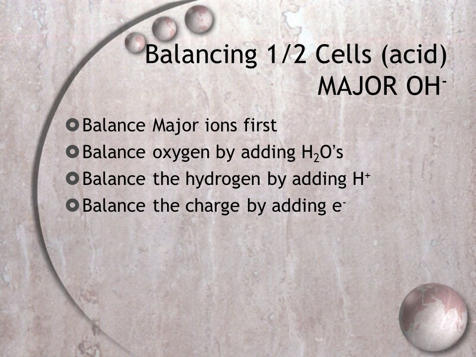 Balancing 1/2 Cells (acid) MAJOR OH-