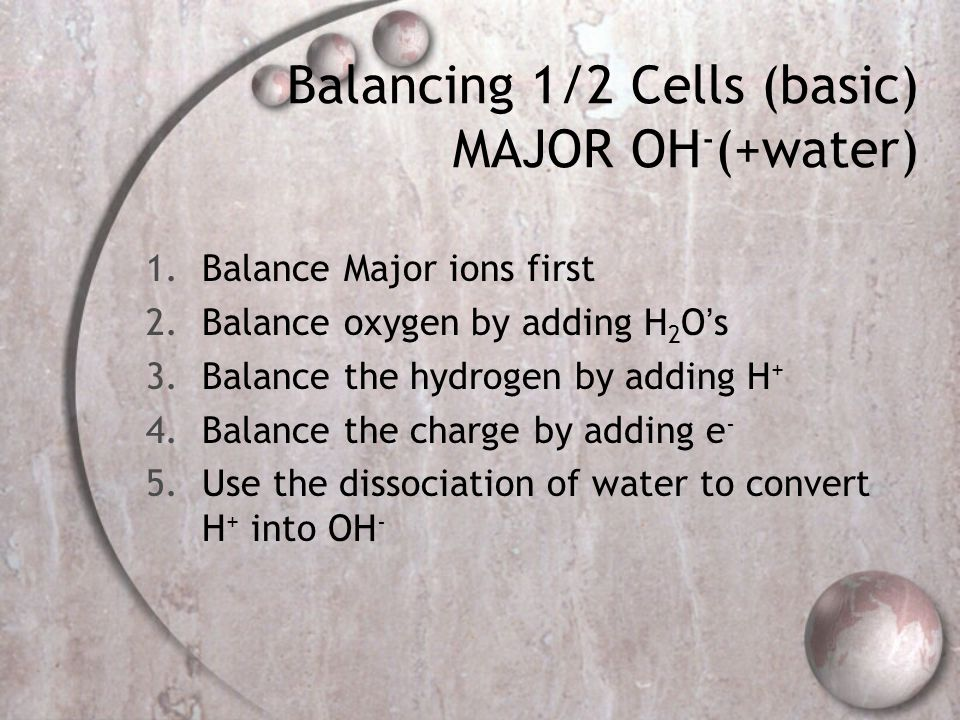 Balancing 1/2 Cells (basic) MAJOR OH-(+water)