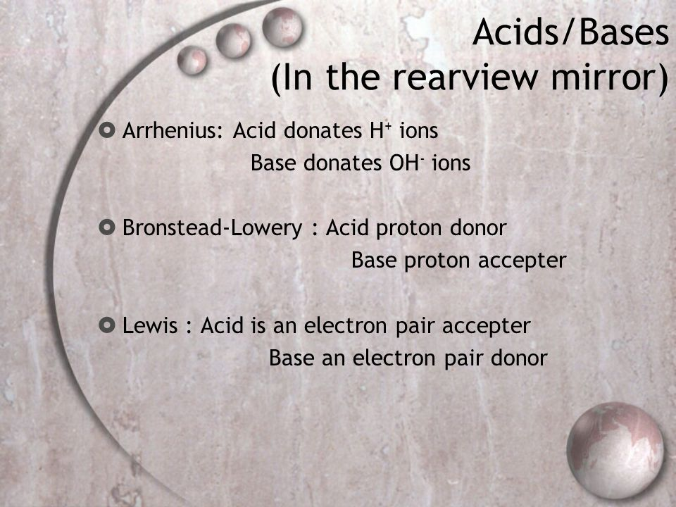 Acids/Bases (In the rearview mirror)