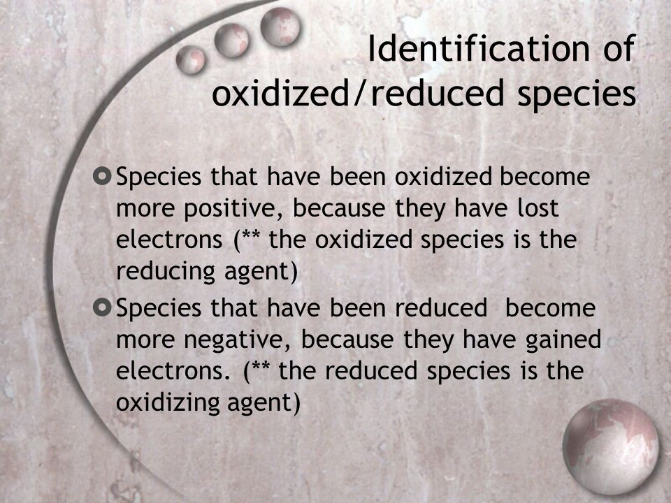 Identification of oxidized/reduced species