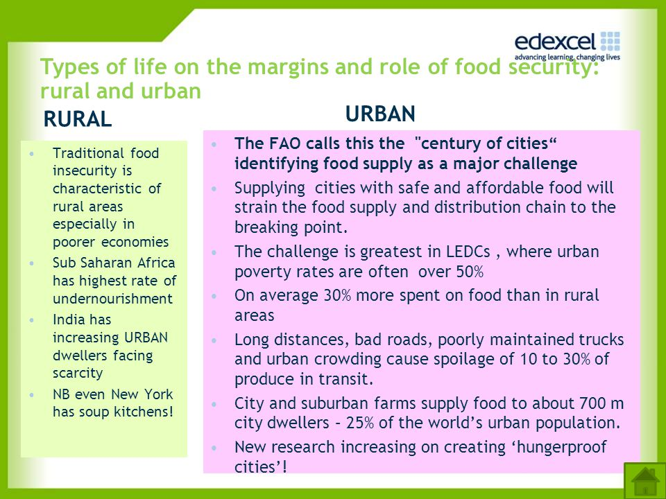 Types of life on the margins and role of food security: rural and urban