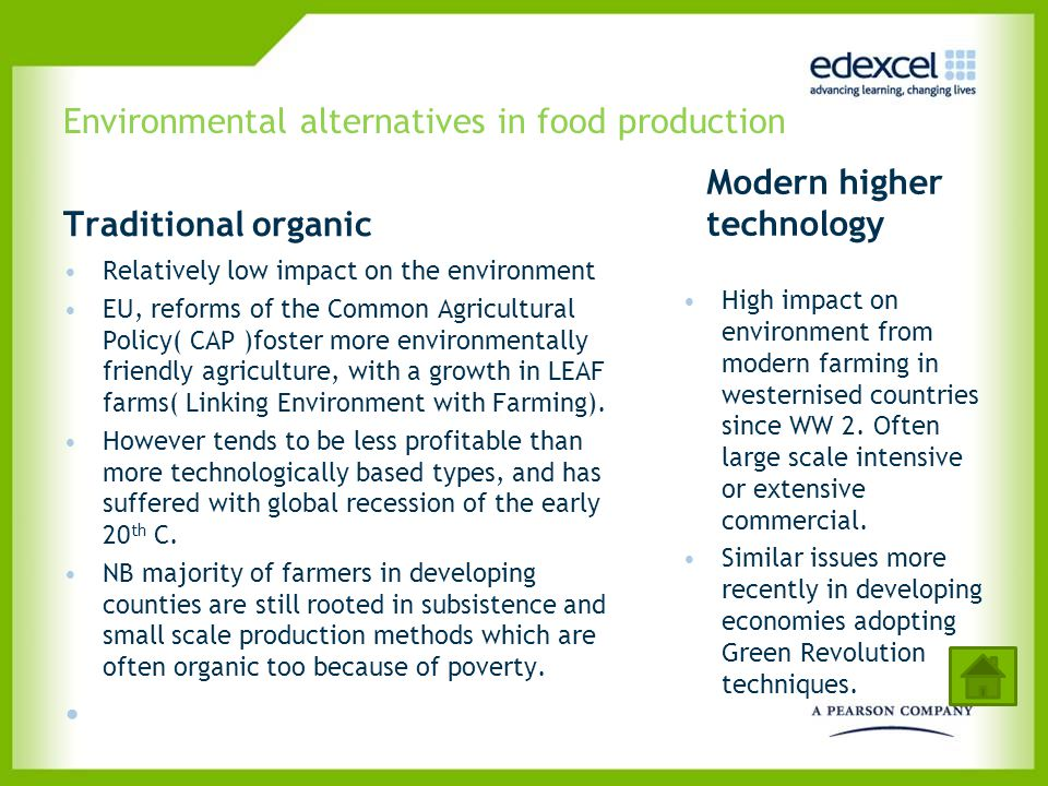 Environmental alternatives in food production