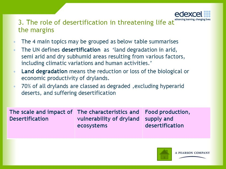 3. The role of desertification in threatening life at the margins