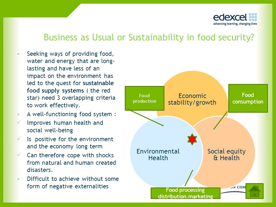 Business as Usual or Sustainability in food security