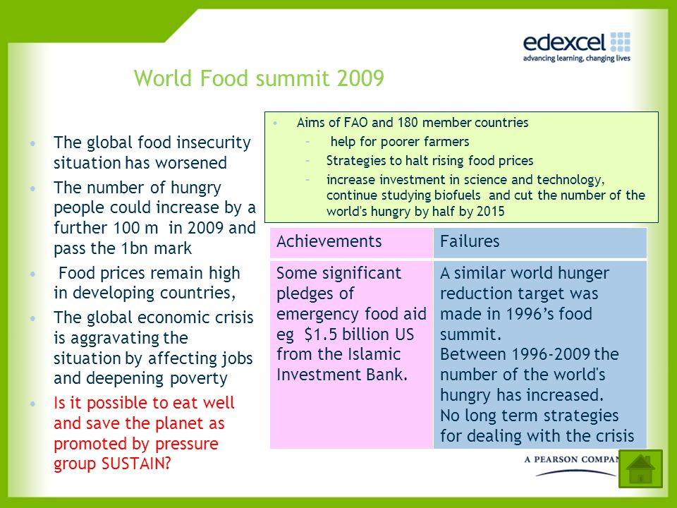World Food summit 2009 Aims of FAO and 180 member countries. help for poorer farmers. Strategies to halt rising food prices.