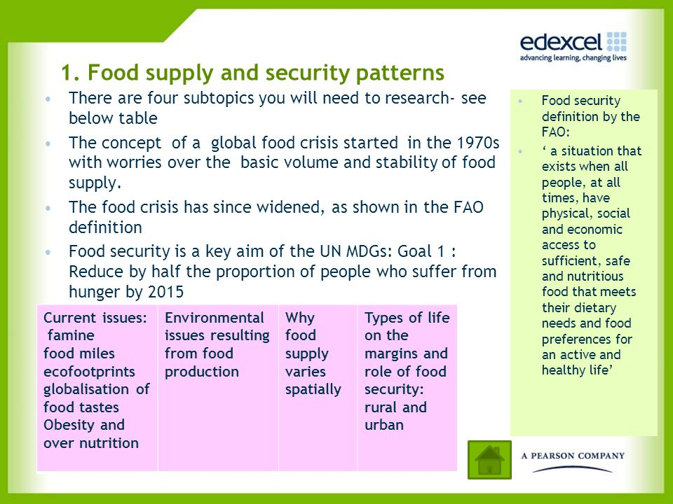 1. Food supply and security patterns