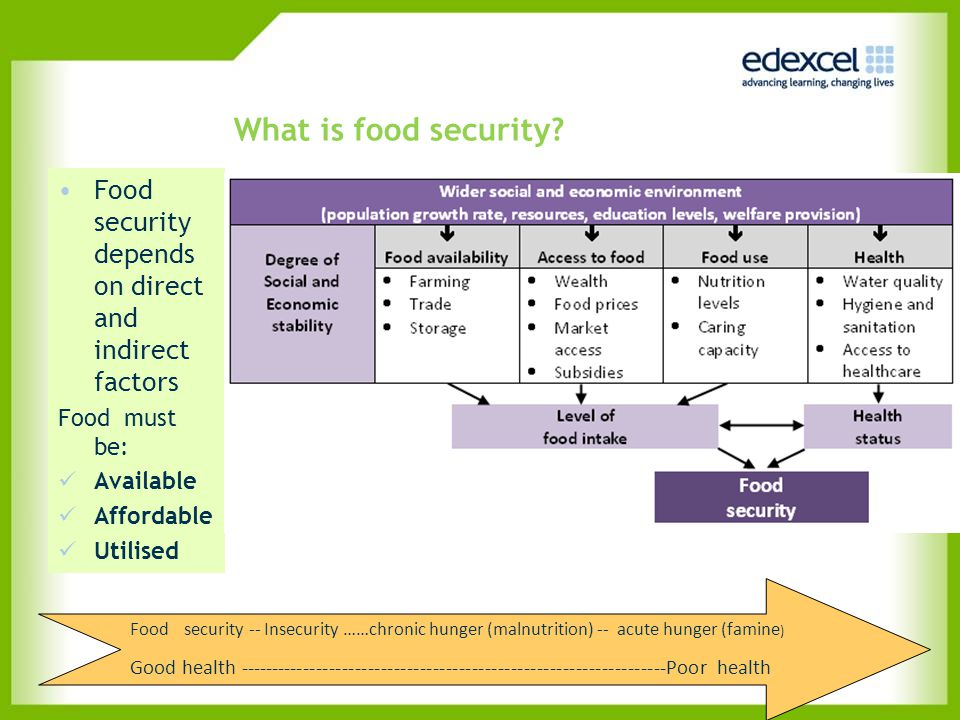 What is food security Food security depends on direct and indirect factors. Food must be: Available.