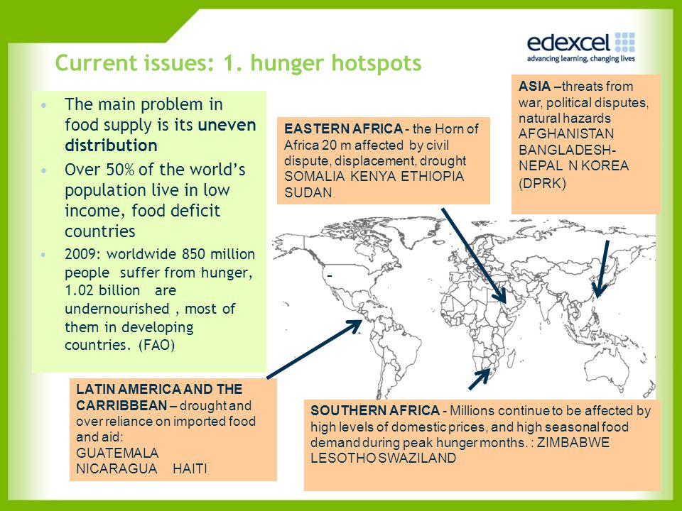 Current issues: 1. hunger hotspots