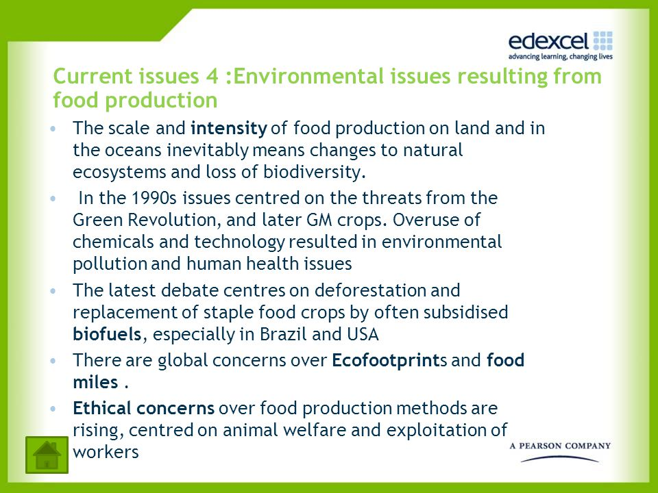 Current issues 4 :Environmental issues resulting from food production