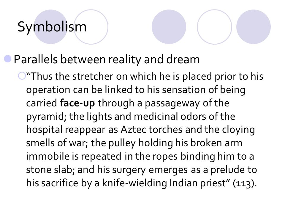 Symbolism Parallels between reality and dream